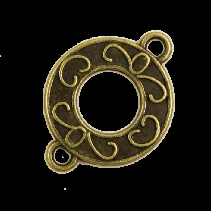 Breloque intercalaire motif anneau 21mm bronze x1