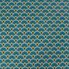 Tissu cretonne éventails dorés - canard x 10 cm