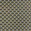 Tissu cretonne éventails dorés - noir x 10 cm