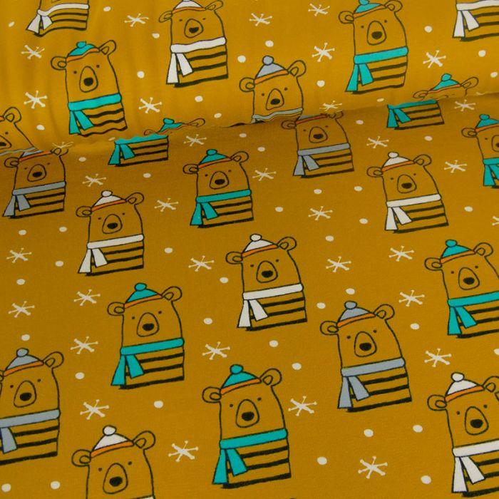 Tissu jersey oeko-tex Stenzo ours - moutarde x 10 cm