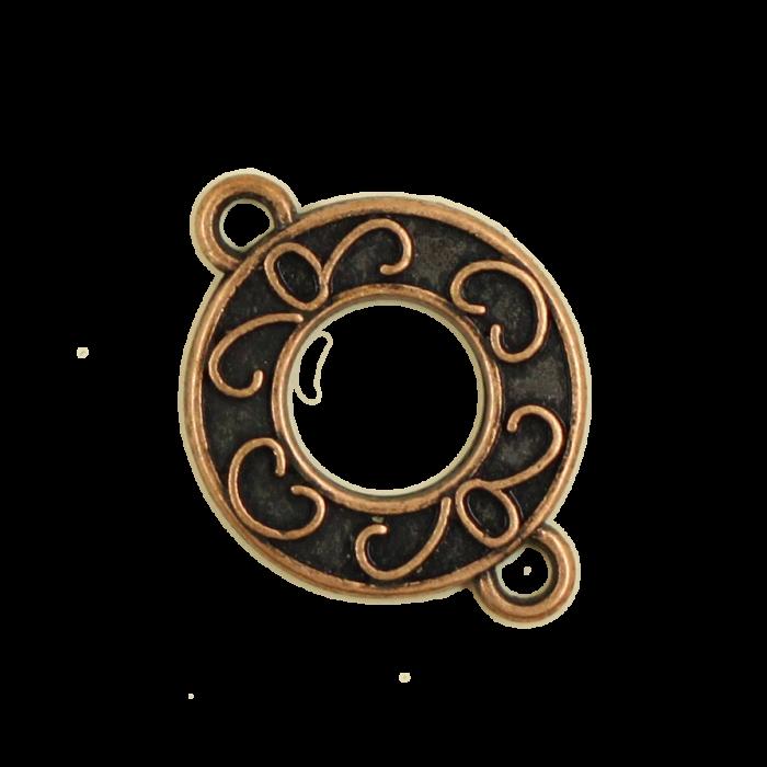 Breloque intercalaire motif anneau 21mm cuivre