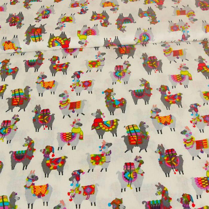 Tissu cretonne lamas - écru x 10 cm