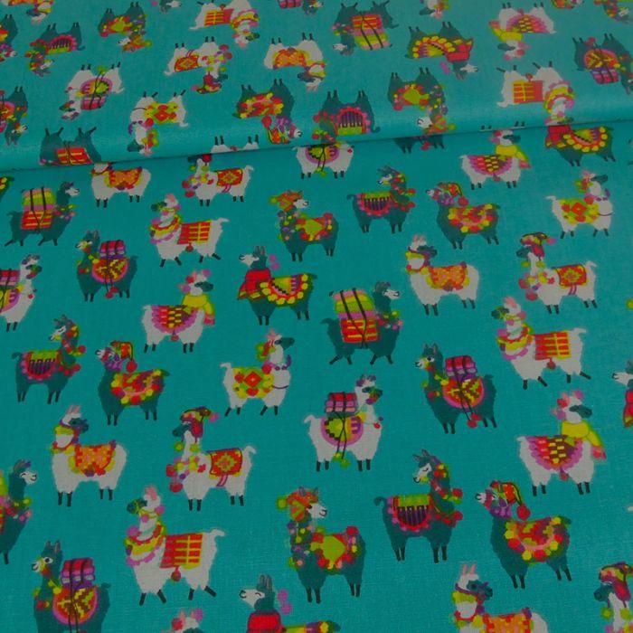 Tissu cretonne lamas - canard x 10 cm