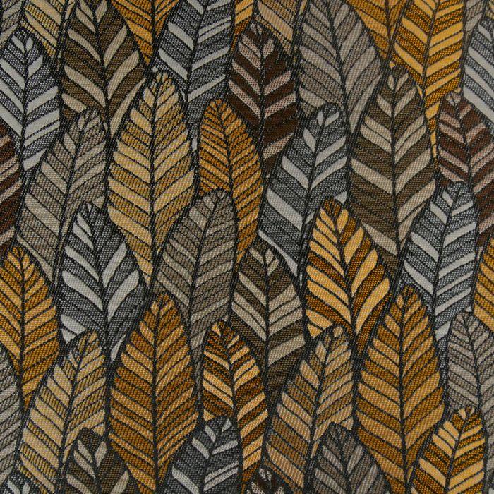 Tissu jacquard plumes wax - marron x 10 cm