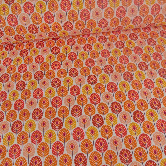 Tissu cretonne plumes de paon - orange x 10 cm
