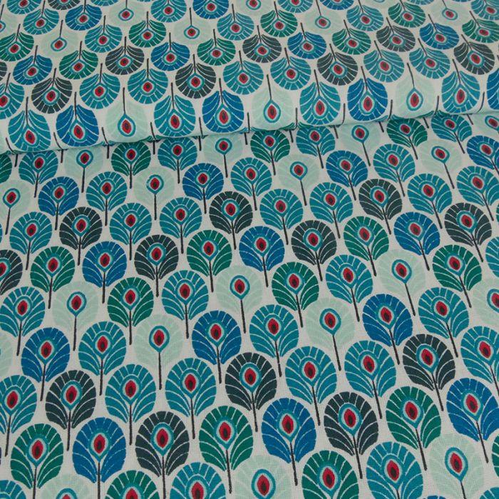 Tissu cretonne plumes de paon - bleu x 10 cm