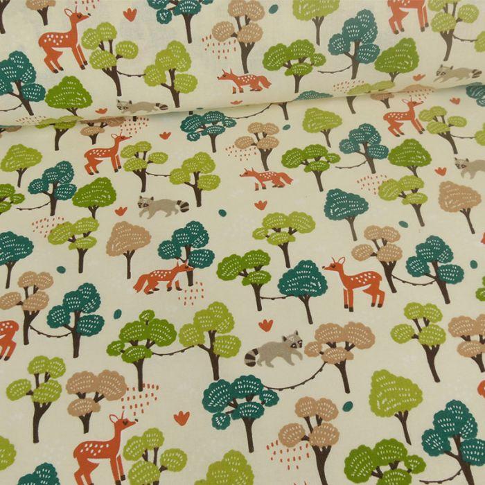 Tissu cretonne forêt x 10 cm
