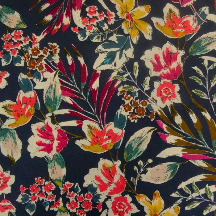 Tissu viscose cupro fleurs - bleu x 10 cm