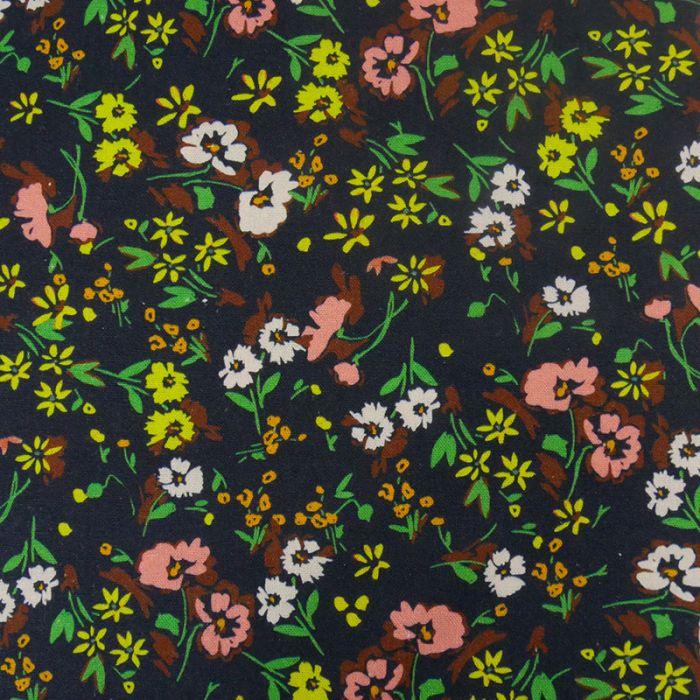 Tissu toile coton et lin fleurs - bleu x 10 cm