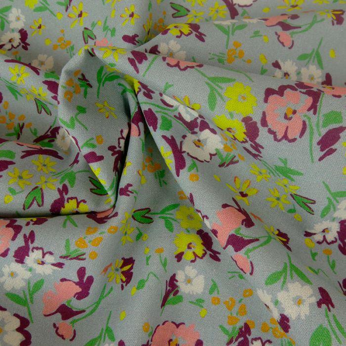 Tissu toile coton et lin fleurs - gris x 10 cm