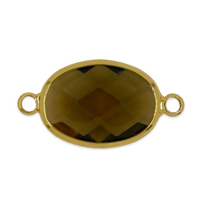Intercalaire en verre facetté ovale 26 mm x1