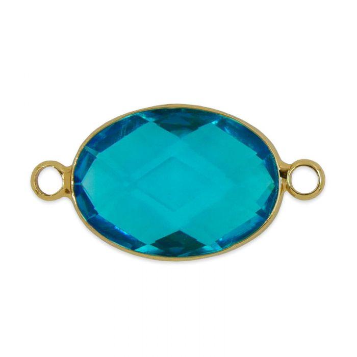 Intercalaire en verre facetté ovale 15 mm x1