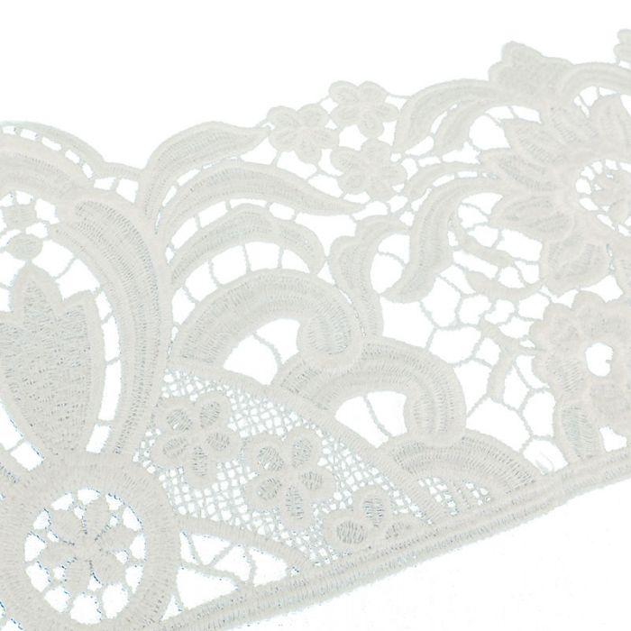 Galon guipure fleurs 14,5 cm - blanc x 10 cm