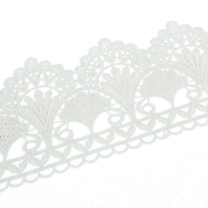 Galon guipure éventail 80 mm - blanc x 10 cm