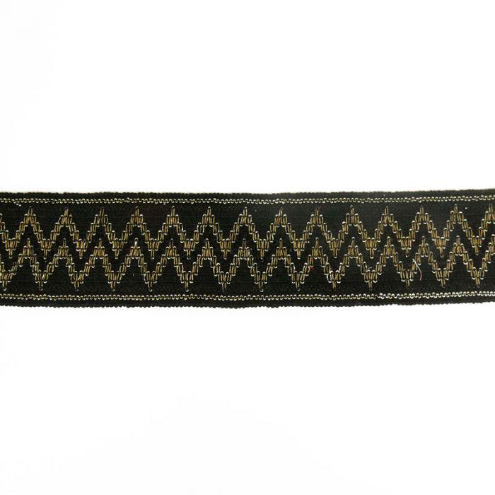 Élastique noir lurex 70 mm x 10 cm