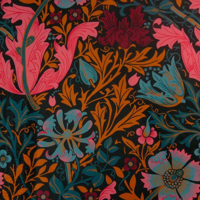 Tissu velours floral - noir x 10 cm