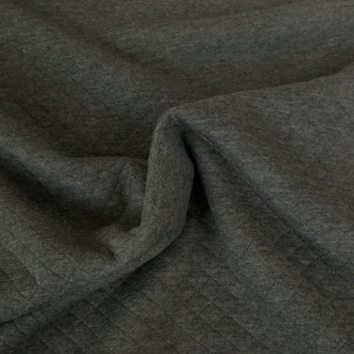 Jersey matelassé - gris foncé chiné x 10 cm