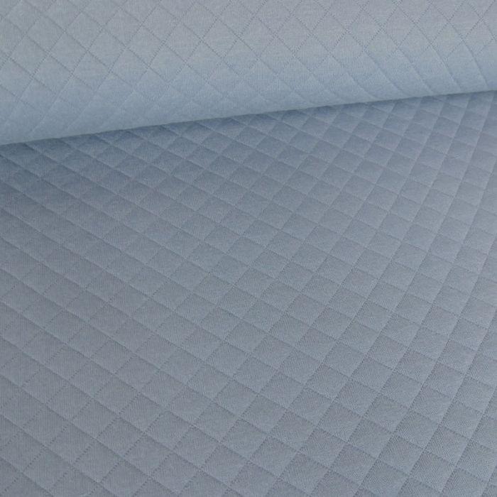 Jersey matelassé - bleu x 10 cm