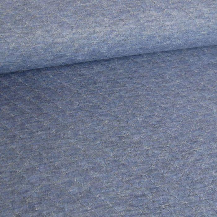 Jersey matelassé - bleu jeans chiné x 10 cm