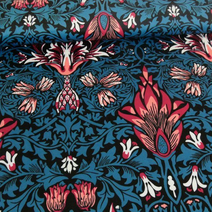 Tissu velours floral - bleu x 10 cm