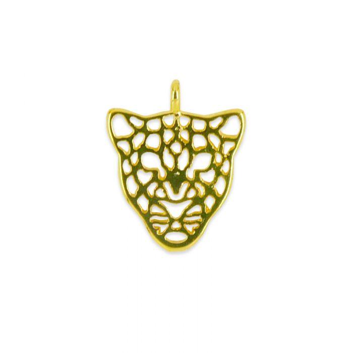 Breloque tête de léopard en acier x1