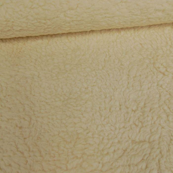 Tissu fausse fourrure mouton - écru x 10 cm