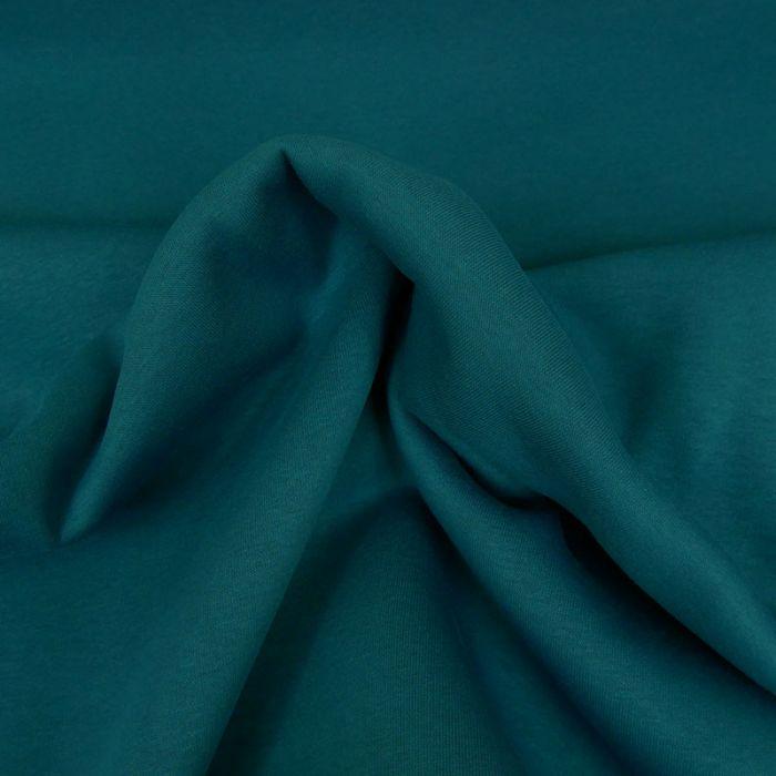 Tissu molleton sweat - pétrole x 10 cm
