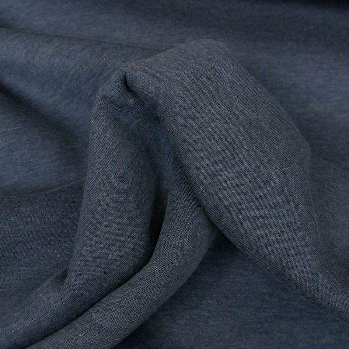 Tissu molleton sweat - bleu jeans x 10 cm