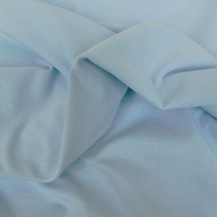 Tissu jersey coton uni - bleu ciel x 10cm