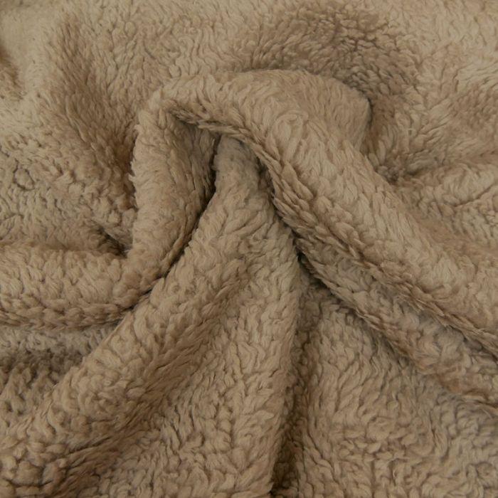 Tissu fausse fourrure mouton - marron x 10 cm