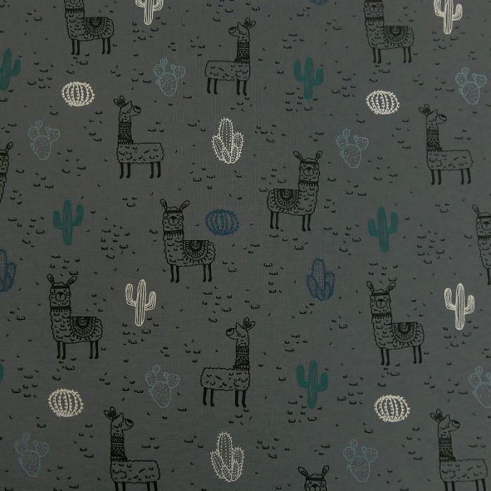 Tissu jersey coton lama oeko-tex - gris x 10cm