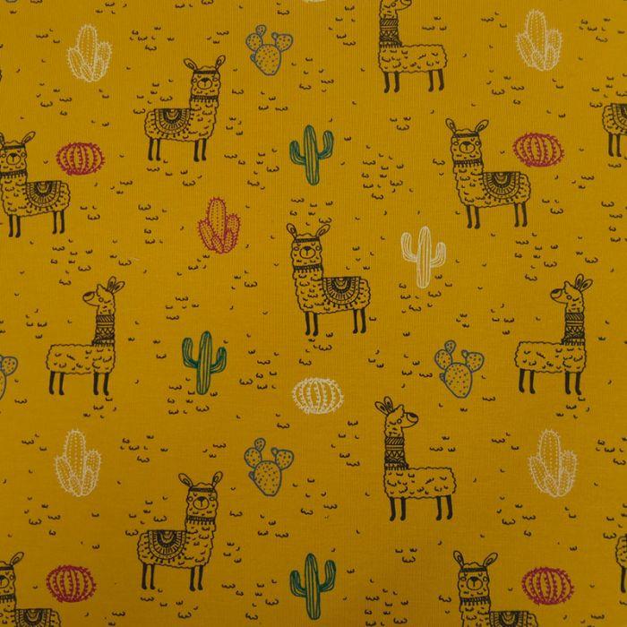 Tissu jersey coton lama oeko-tex - jaune x 10cm