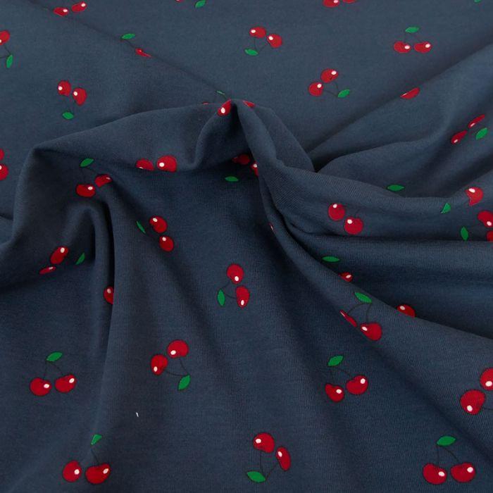 Tissu jersey coton cerises oeko-tex - navy x 10cm