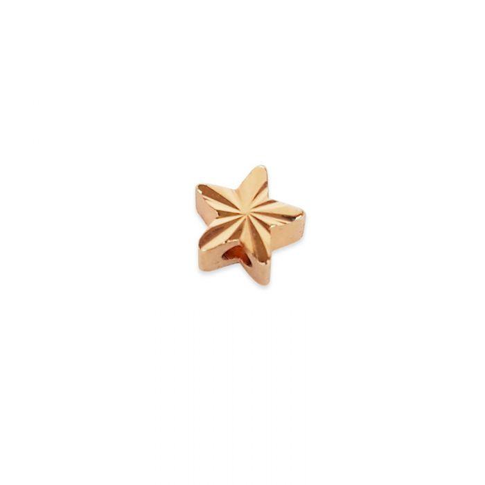 Perle étoile striée acier x1
