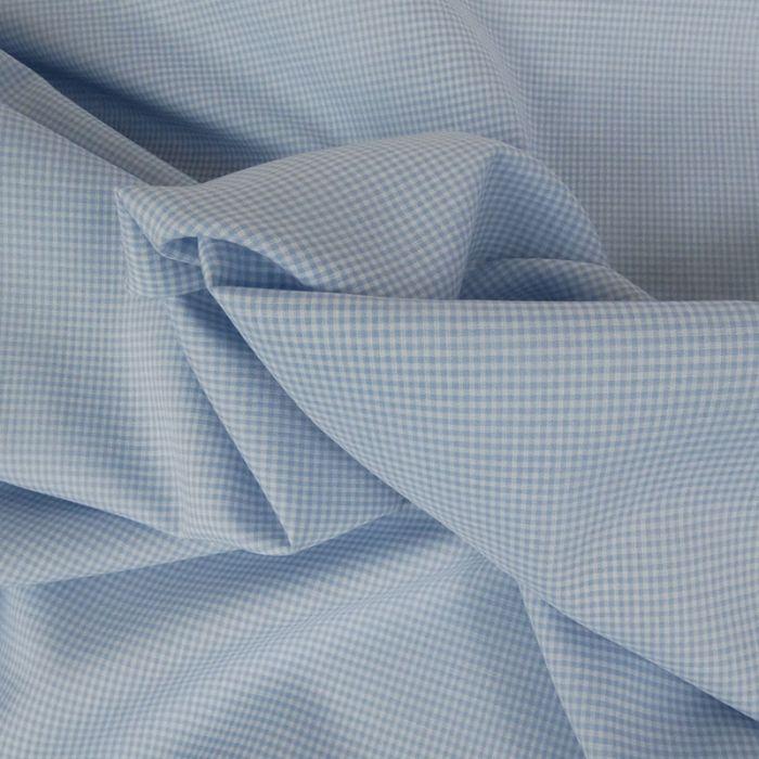Tissu coton petits carreaux - bleu x 10 cm