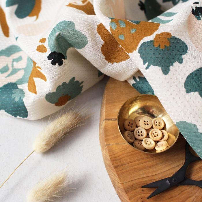 Tissu viscose plumetis Posie green - Atelier Brunette x 10 cm