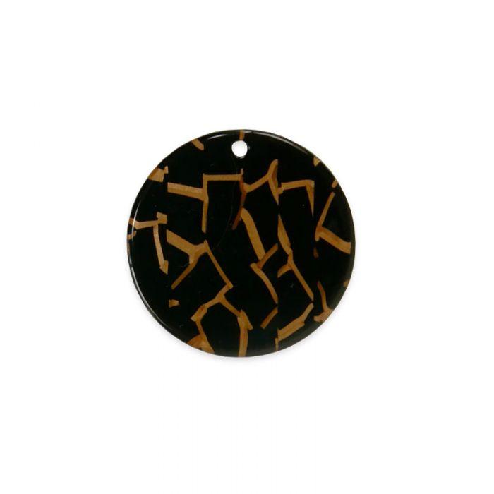 Pendentif rond tigré 29 mm en résine x1