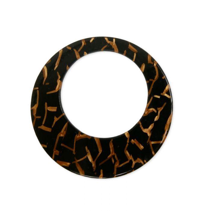 Pendentif cercle tigré 47 mm en résine x1