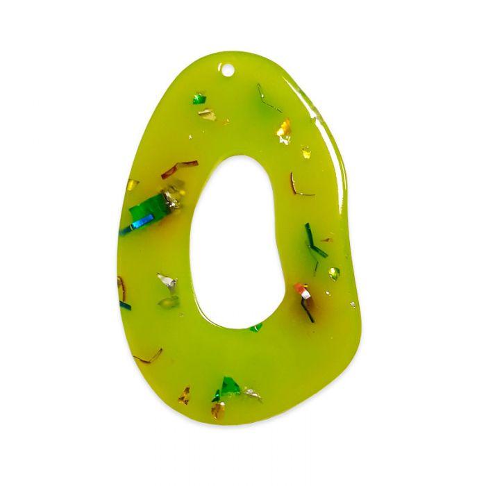 Pendentif ovale résine à paillettes x1