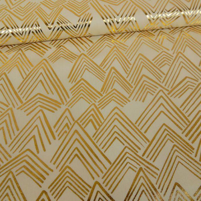 Tissu coton montagnes or - crème x 10 cm