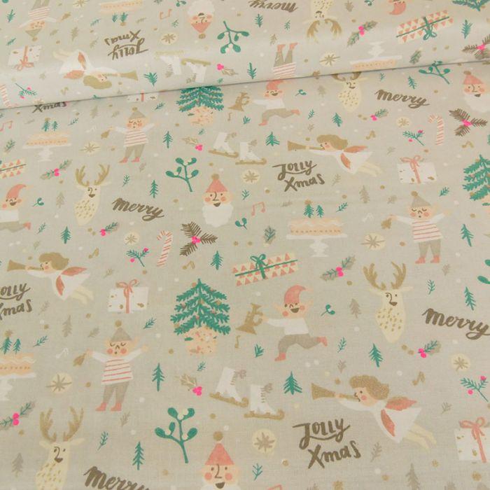 """Tissu coton Rico """"Jolly X-Mas"""" x 10 cm"""