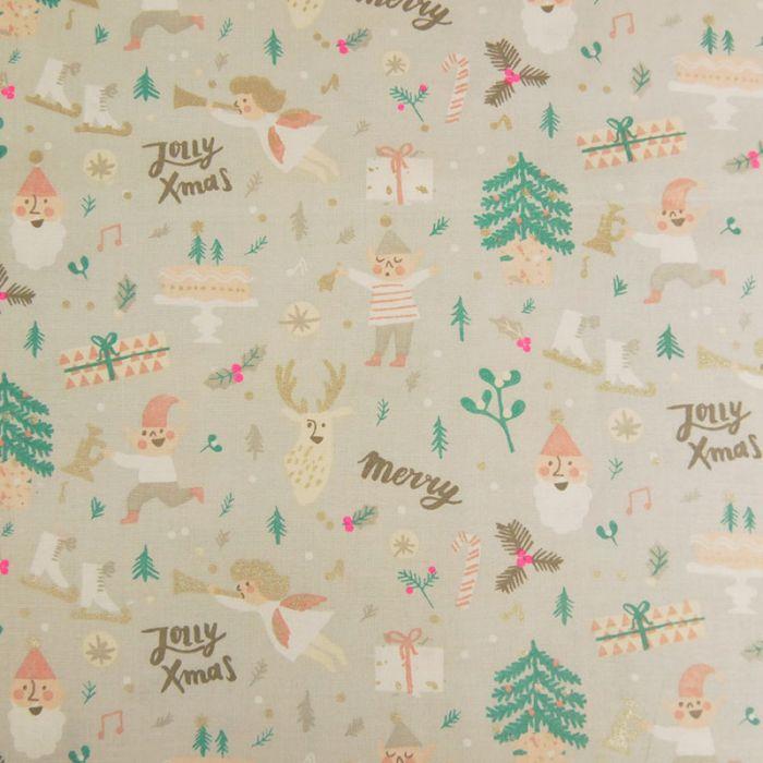 "Tissu coton Rico ""Jolly X-Mas"" - gris x 10 cm"