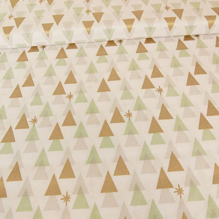 Tissu coton Rico sapins géométriques - blanc x 10 cm