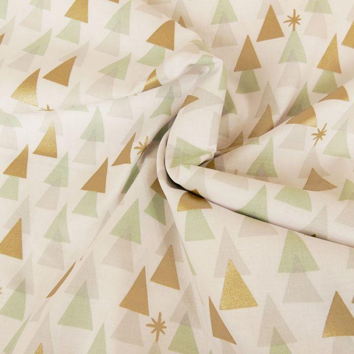 Tissu coton sapins géométriques - blanc x 10 cm
