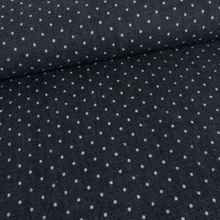 Tissu chambray pois - bleu x 10 cm