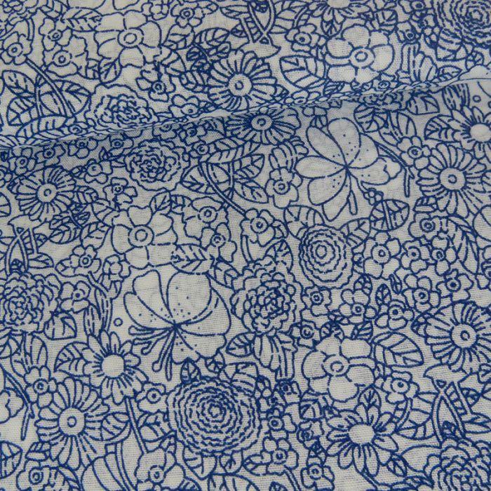 Tissu coton fleurs - bleu x 10 cm
