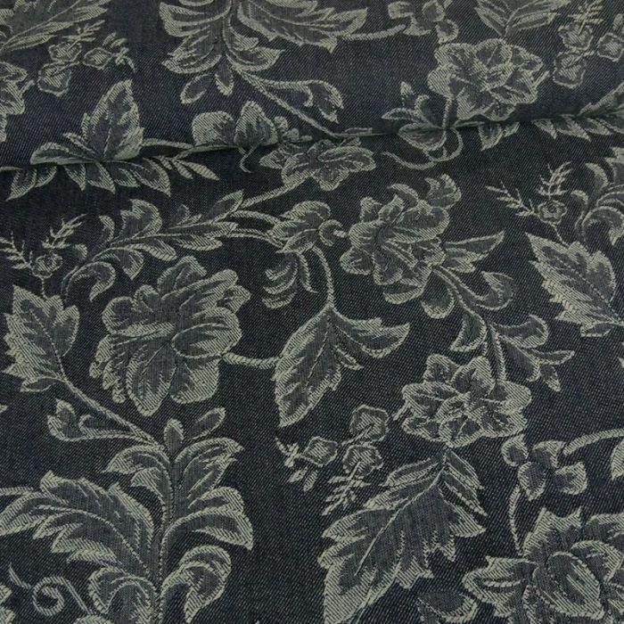 Tissu denim élasthanne fleurs - bleu x 10 cm