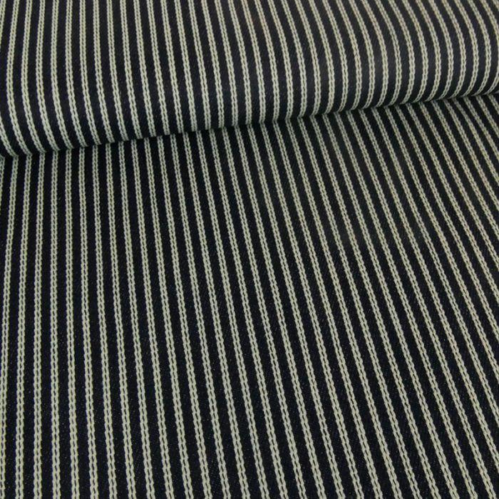 Tissu denim élasthanne rayures - marine x 10 cm