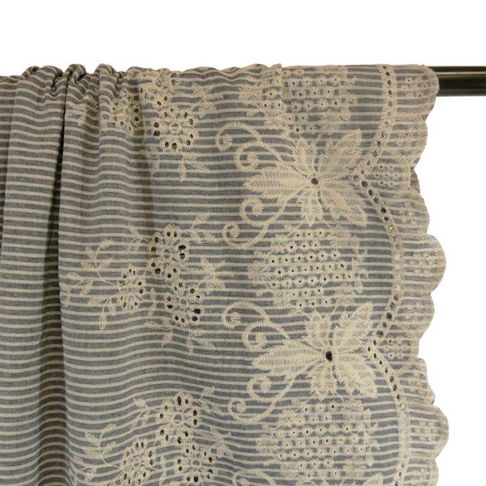 Tissu lin rayures broderie - gris x 10 cm
