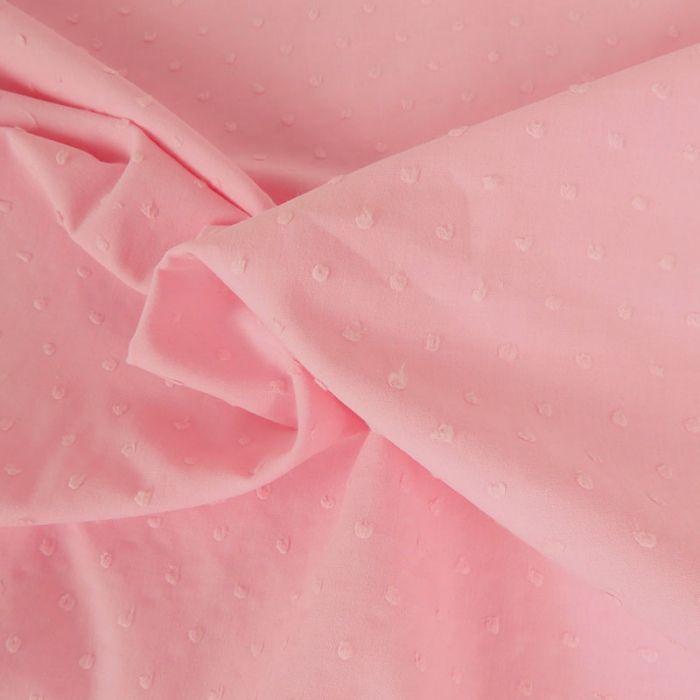 Tissu coton plumetis - rose x 10 cm